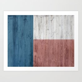 minimalist wooden Texas flag Art Print