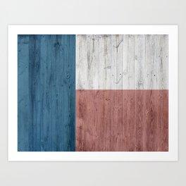 minimalist wooden Texas flag Art Print