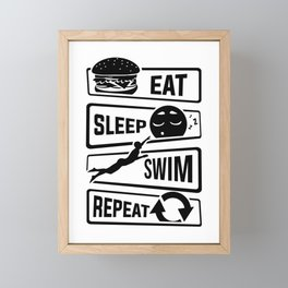 Eat Sleep Swim Repeat - Swimming Water Sports Pool Framed Mini Art Print