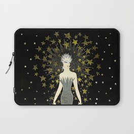 "Art Deco Sepia Illustration ""Star Studded Glamor"" Laptop Sleeve"