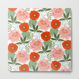 Pions and Poppies Metal Print