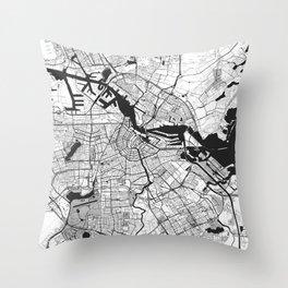 Amsterdam Map Gray Throw Pillow