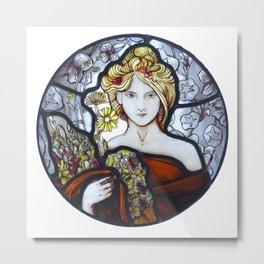 Stained Glass Art Nouveau Roundel Metal Print