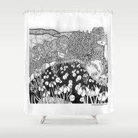 vermont Shower Curtains featuring Zentangle Vermont Landscape Black and White Illustration by Vermont Greetings