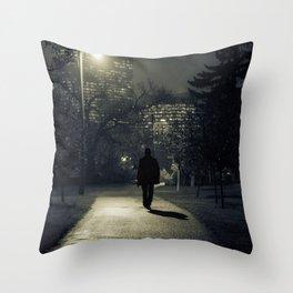 winter walk; morning commute Throw Pillow