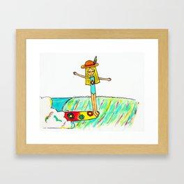 Hang 10 Lady Slider Framed Art Print