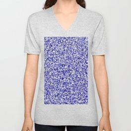 Tiny Spots - White and Dark Blue Unisex V-Neck