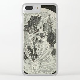 Vintage Moon Map Clear iPhone Case