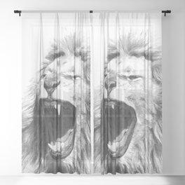 Black White Fierce Lion Sheer Curtain