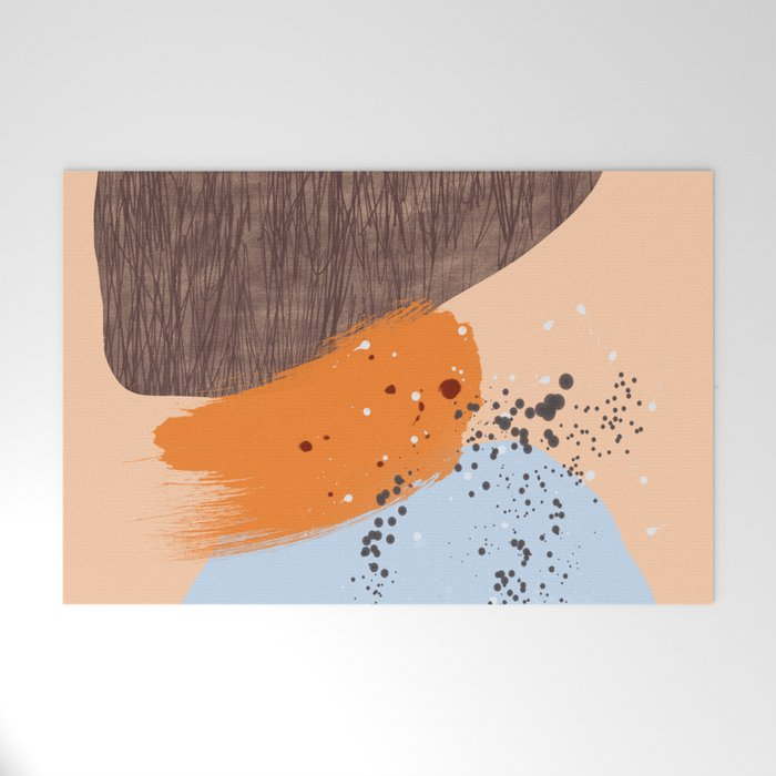 Mushrooms and Lichen abstract mid-century modern art Welcome Mat