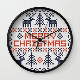 Pixel Merry Christmas - Deers and Trees - Red and Dark Blue Wall Clock