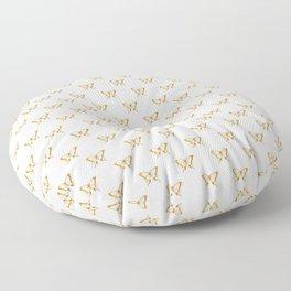 Metallic Gold Foil Butterflies on White Floor Pillow