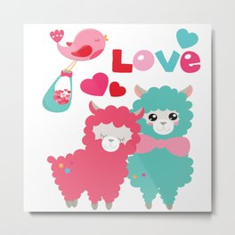 Llama and Llama in Love Metal Print