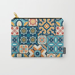 Traditional ornate portuguese decorative color tiles azulejos. Abstract background. Vintage hand drawn illustration, typical portuguese tiles, Ceramic tiles. Seamless pattern.  Carry-All Pouch