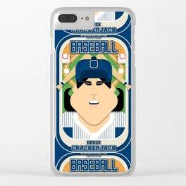 Baseball Blue Pinstripes - Deuce Crackerjack - Amy version Clear iPhone Case