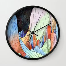 coral Mountains Wall Clock