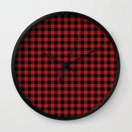 xmas red and black check tartan Wall Clock