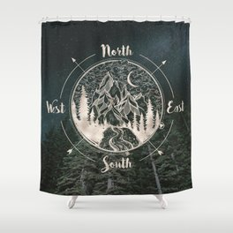 Mountains Compass Milky Way Woods Gold Shower Curtain
