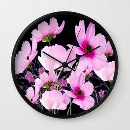 DELICATE PINK-FUCHSIA COSMO BLACK ART Wall Clock