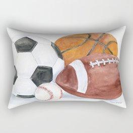 Sports Balls Watercolor Painting Rectangular Pillow