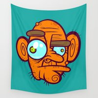 poker Wall Tapestries featuring Old Poker Face by Artistic Dyslexia