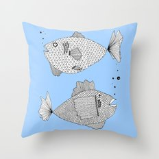 Two Fish Blue Fish Throw Pillow