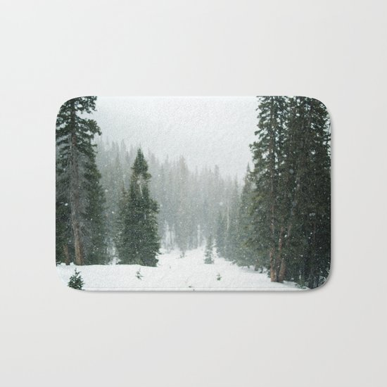 Snow Covered Forest Bath Mat
