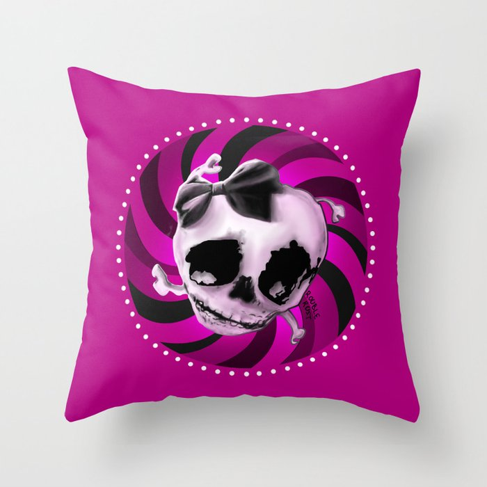 Girly Pink Skull with Black Bow Throw Pillow
