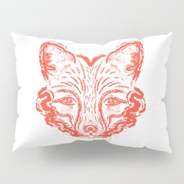 Muzzle foxes. Fox with sideburns, sketch strokes. Pillow Sham