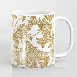 Chic White Gold Modern Elegant Floral Coffee Mug