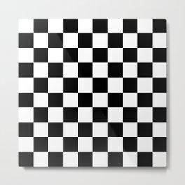 Black White Checker Metal Print
