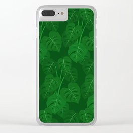 Hand Painted Monstera Deliciosa Tropical Houseplant Art Clear iPhone Case