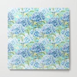 Blue floral hydrangea flower flowers Vintage watercolor pattern Metal Print