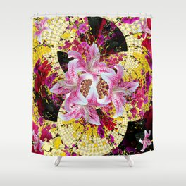 ABSTRACTED FUCHSIA-PINK LILY & HOLLYHOCKS GARDEN Shower Curtain