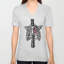 Anatomical Heart Art, Human Heart and Rib Cage Unisex V-Neck