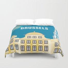 Brussels, Belgium - Skyline Illustration by Loose Petals Duvet Cover