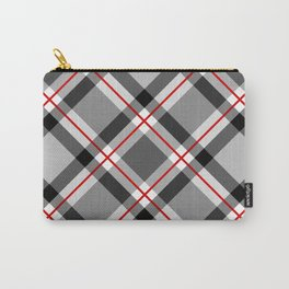 Large Modern Plaid, Black, White, Gray and Red Carry-All Pouch