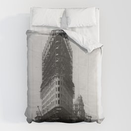 Old NYC Flat Iron Building Construction Photograph Comforters