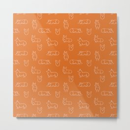 Corgi Pattern on Orange Background Metal Print