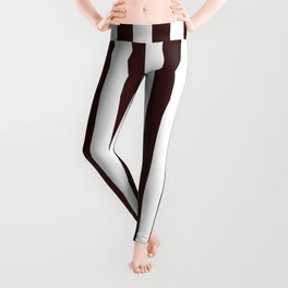 Narrow Vertical Stripes - White and Dark Sienna Brown Leggings