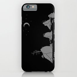 Moon Over Three Graces Grey on Black iPhone Case