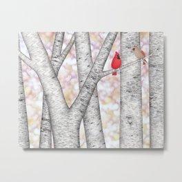 cardinals and birch trees Metal Print