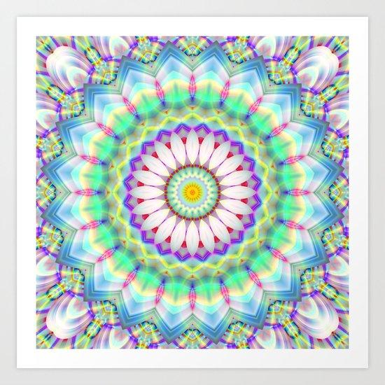 Mandala Patchwork lightblue Art Print