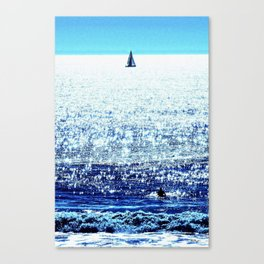 Sailboat and Swimmer Canvas Print