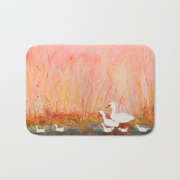 Gooses day out on the pond Bath Mat