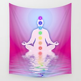 In Meditation With Chakras - Pink Ocean Wall Tapestry