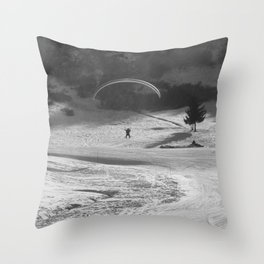 Paragliding in the mountains, Les Arcs Throw Pillow