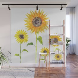Sunflowers Watercolor Painting Wall Mural