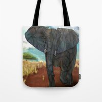 african Tote Bags featuring African Elephant by Ben Geiger