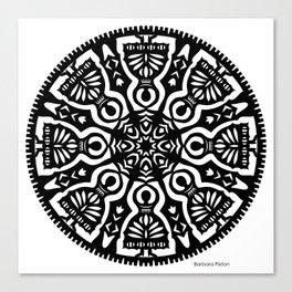 Polish Papercut Dancers Black Canvas Print